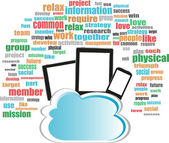 Cloud storage concept in word business collage with tablet pc — Stock Photo