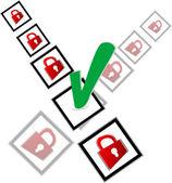 緑色のチェック ボックスとチェック マーク リスト設定赤い南京錠 — ストック写真