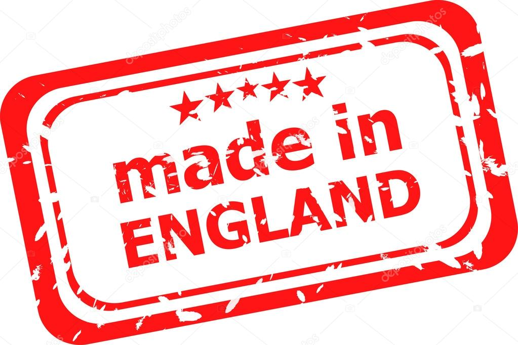 red rubber stamp of made in england stock photo