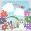 Background with owl, flowers birds and clouds — Stock Photo