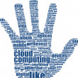 Hand which is composed of text keywords on social media themes. Isolated on white - Stock Photo