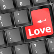 Stock Photo: Modern keyboard with love text. Social network concept