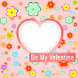 Be my valentine scrapbook flower background — Stock Photo