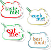 Eat me, taste me and cook me stickers — Stock Photo
