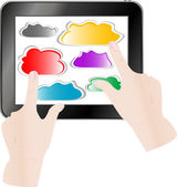 Hand pressing a paper cloud on tablet pc computer — Stock Photo
