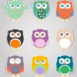 Foto Stock: Set of cute owls