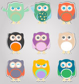 Set of cute owls — 图库照片