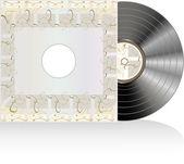 Disco de vinilo negro con tapa abstractos grunge — Foto de Stock