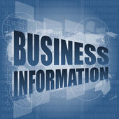 Business information on digital touch screen, 3d — Stock Photo