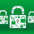 Protect wallpaper with green and white padlock set — Stock Photo