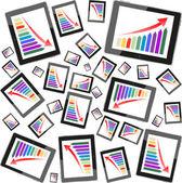 Tablet pc-computer-gewinn-konzept, roter pfeil und business-wachstums-chart — Stockfoto