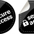Secure access with lock on black stickers set — Stock Photo #25967983