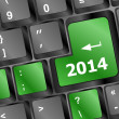 2014 Key On Keyboard Representing Year Two Thousand Fourteen — Stock Photo