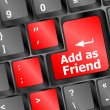 Social media or social network concept: Keyboard with Add As Friend button - Stock Photo