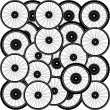 Bicycle background from many bike wheels — Stock Photo