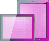 Realistic concept of tablet pc pink textile blank screen — Stock Photo
