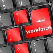 Llave de mano de obra en teclado - concepto del negocio — Foto de Stock