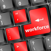 Workforce key on keyboard - business concept — 图库照片