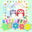 Foto Stock: Set of elements - owls, birds, flowers, butterflies, ladybugs etc
