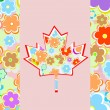 canada maple leaf - flower card — Stock Photo
