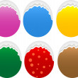 Torn oval paper stickers label tag set - Stock Photo