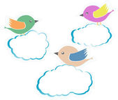 Birds On Clouds isolated on white — Stock Photo