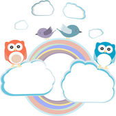 Background with couple of owls sitting and birds on cloud — Stock Photo