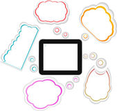 Tablet PC with cloud of colorful application icons — Photo
