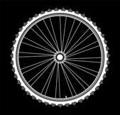 White Bicycle wheels isolated on black background — Stock Photo