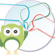 Cute owl with abstract speech bubbles — Stock Photo #26263353