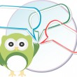 Cute owl with abstract speech bubbles — Stock Photo