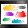 Woman hand holding tablet pc with abstract cloud — Stock Photo