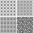 Set of 4 seamless patterns. Monochrome geometrical patterns — Stock Photo
