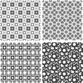 Set of 4 seamless patterns. Monochrome geometrical patterns — Stock Photo