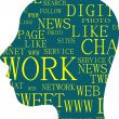 The silhouette of head with the words on the topic of social networking — Stock Photo #26291177