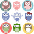 Set of cartoon owls with various emotions — Lizenzfreies Foto