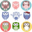 Set of cartoon owls with various emotions — Stock Photo