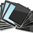 Black abstract tablet pc set on white background — Stock Photo #26292373