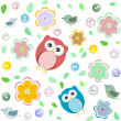 Seamless colourful owl pattern for kids — Stock Photo