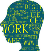 The silhouette of head with the words on the topic of social networking — Stock Photo