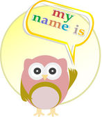 Cute baby boy owl - my name is — Stockfoto