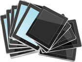 Black abstract tablet pc set on white background — Stock Photo