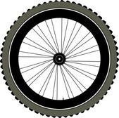 Fiets wiel met band en spaken geïsoleerd op wit — Stockfoto