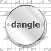 Dangle word on metallic button — Stock Photo