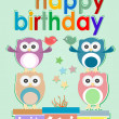 Card with cute owl, birds and gift boxes - happy birthday — Stock Photo #26906989