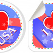 Stock Photo: Heart logo I love USstickers label set