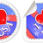 Heart logo I love USA stickers label set — Stock Photo