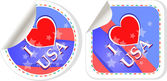 Heart logo I love USA stickers label set — Stock Photo