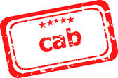 Cab on red rubber stamp over a white background — Stock Photo