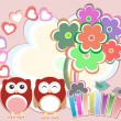 Background with cute owls, heart, flower and birds — Stock Photo